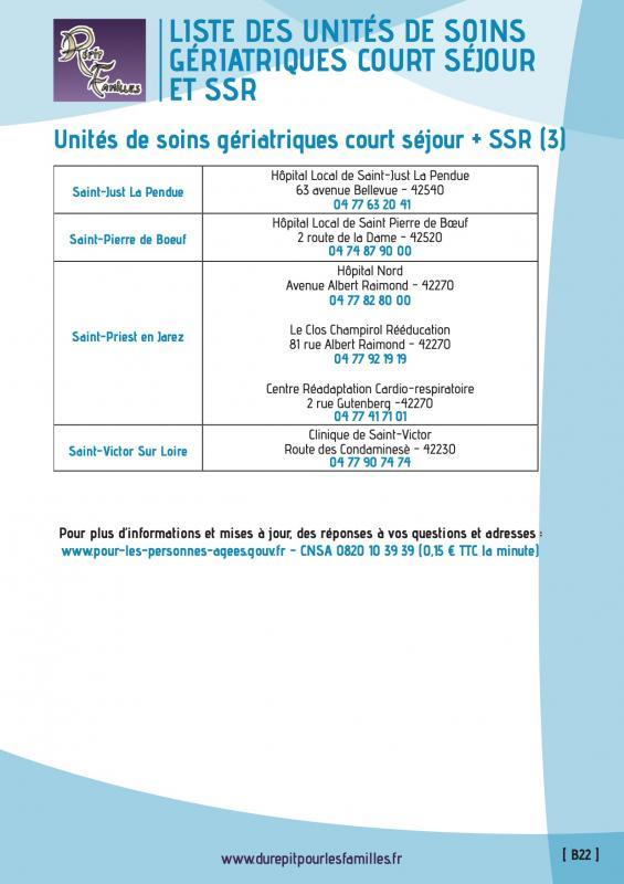 B22 liste des unites de soins geriatriques court sejour et ssr liste 3