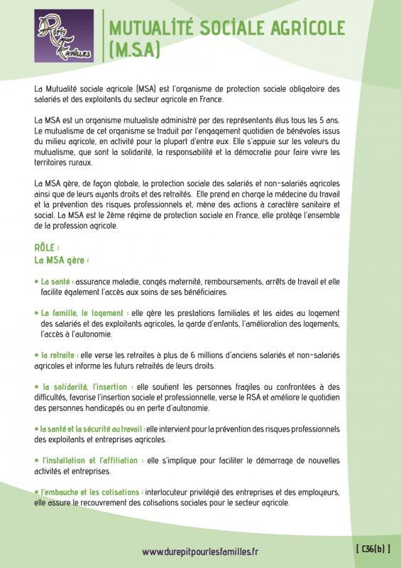 C36 b mutualite sociale agricole msa recto